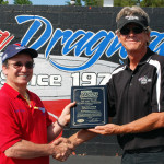 Atlanta Dragway manager Mike Savage on right awards Tim Glover 2012 National-Dragster Contributor of the Year award during the Summit ET event
