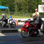 Race 1 Street ET Motorcycle winner Michael Mann, near lane and runner up Guillermo Roman, far lane.