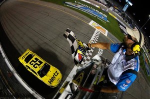 Brad Keselowski, driver of the #22 Hertz Ford, takes the checkered flag to win the NASCAR Nationwide Series Virginia 529 College Savings 250 at Richmond International Raceway on September 6, 2013 in Richmond, Virginia.Credit: Chris Graythen/NASCAR via Getty Images