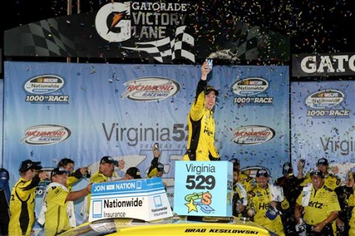 Late pass gives Brad Keselowski victory in 1,000th Nationwide race