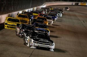 Brian Scott, driver of the #2 Shore Lodge Chevrolet, leads a group of cars.Credit: Chris Graythen/NASCAR via Getty Images