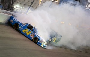 Brennan Newberry, driver of the #24 Qore-24 Chevrolet, spins out as Ron Hornaday Jr., driver of the #9 NTS Motorsports Chevrolet, tries to avoid him during the NASCAR Camping World Truck Series Smith's 350 at the Las Vegas Motor Speedway on September 28, 2013 in Las Vegas, Nevada.Credit: Robert Laberge/NASCAR via Getty Images