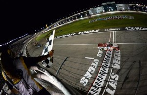 Timothy Peters, driver of the #17 Parts Plus Toyota, celebrates after winning.Credit: Robert Laberge/NASCAR via Getty Images