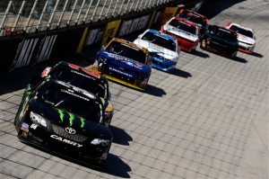 Kyle Busch, driver of the #54 Monster Energy Toyota, leads Matt Kenseth, driver of the #20 GameStop Toyota, during the NASCAR Nationwide Series Drive To Stop Diabetes 300 at Bristol Motor Speedway on March 15, 2014 in Bristol, Tennessee.Jared C. Tilton/Getty Images