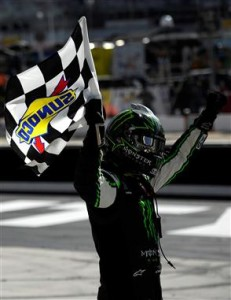 Kyle Busch, driver of the #54 Monster Energy Toyota, celebrates with the checkered flag after winning the NASCAR Nationwide Series Drive To Stop Diabetes 300 at Bristol Motor Speedway on March 15, 2014 in Bristol, TN.Photo: Jared C. Tilton/Getty Images