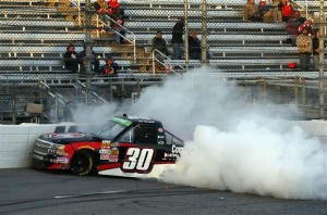 Smoke pours from the #30 Rheem Chevrolet, driven by Ron Hornaday Jr. after an on-track incident.Photo: Matt Sullivan/Getty Images