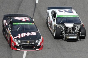 Kurt Busch, driver of the #41 Haas Automation Chevrolet, races Brad Keselowski, driver of the #2 Miller Lite Ford.Photo: Chris Graythen/Getty Images