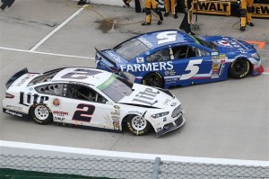 Kasey Kahne, driver of the #5 Farmers Insurance Chevrolet, is hit by Brad Keselowski, driver of the #2 Miller Lite Ford, as he pulls into his pit box.Photo: Chris Graythen/Getty Images
