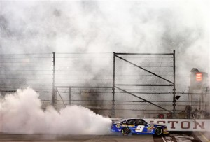 Chase Elliott, driver of the #9 NAPA Auto Parts Chevrolet, celebrates with a burnout after winning the NASCAR Nationwide Series VFW Sport Clips Help A Hero 200 at Darlington Raceway on April 11, 2014 in Darlington, South Carolina.Photo: NASCAR Via Getty Images