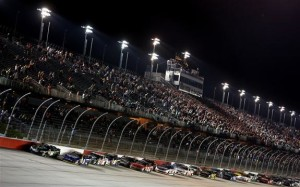 Kyle Busch, driver of the #54 Monster Energy Toyota, leads the field to start the NASCAR Nationwide Series VFW Sport Clips Help A Hero 200 at Darlington Raceway on April 11, 2014 in Darlington, South Carolina.Jerry Markland/Getty Images