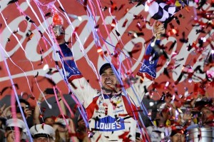 Jimmie Johnson, driver of the #48 Lowe's Patriotic Chevrolet, celebrates in victory lane after winning the NASCAR Sprint Cup Series Coca-Cola 600 at Charlotte Motor Speedway on May 25, 2014 in Charlotte, North Carolina.Photo: Jared C. Tilton/Getty Images