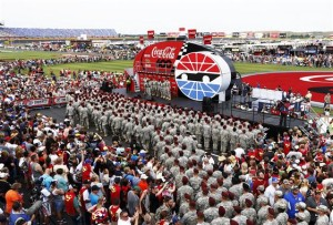 Members of the military take part in pre race ceremonies prior to the NASCAR Sprint Cup Series Coca-Cola 600 at Charlotte Motor Speedway on May 25, 2014 in Charlotte, North Carolina.Credit: Jeff Zelevansky/NASCAR via Getty Images