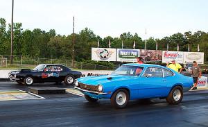 Pro race 2 winner Dickey Forrester in far lane and runner up Howard Warren in near lane