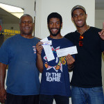 Sportsman race 2 winner Blyke Phillips with dad Bryan and brother Brandyn