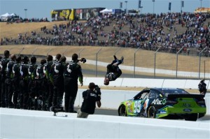 Carl Edwards, driver of the #99 Aflac Ford, celebrates with a backflip after winning the NASCAR Sprint Cup Series Toyota/Save Mart 350 at Sonoma Raceway on June 22, 2014 in Sonoma, California.Photo: Robert Laberge/Getty Images
