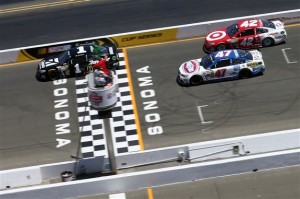 Jamie McMurray, driver of the #1 Cessna Chevrolet, leads the field at the start of the NASCAR Sprint Cup Series Toyota/Save Mart 350 at Sonoma Raceway on June 22, 2014 in Sonoma, California.Photo: Sean Gardner/Getty Images