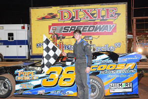 Dillon Tidmore collected check for Late Model win
