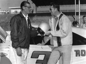 May 1969: Driver Neil Castles (R) drove two races for car owner Ray Fox (L) during the NASCAR Cup season, the Rebel 400 at Darlington Raceway and the World 600 at the Charlotte (NC) Motor Speedway.Credit:  Images & Archives via Getty Images