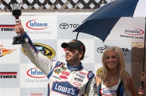 Jimmie Johnson celebrates in victory lane after winning during the NASCAR Sprint Cup Series Toyota/Save Mart 350 at Infineon Raceway on June 20, 2010 in Sonoma, California.Photo: Chris Graythen/Getty Images for NASCAR