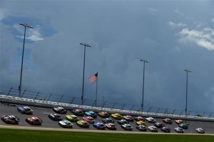 Matt Kenseth, driver of the #20 Home Depot Husky Toyota, leads the field.<BR<Photo: Scott Halleran/NASCAR via Getty Images