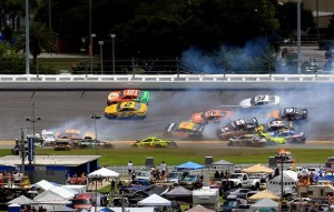 A large incident occurs in turn three.Photo: Daniel Shirey/NASCAR via Getty Images