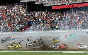 Kyle Larson, driver of the #42 Target Chevrolet, is involved in an incident during the NASCAR Sprint Cup Series Coke Zero 400 at Daytona International Speedway on July 6, 2014 in Daytona Beach, Florida.Photo: Jerry Markland/NASCAR via Getty Images