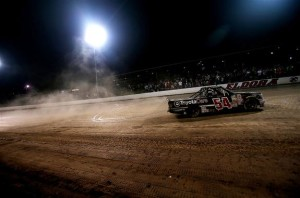 Darrell Wallace Jr., driver of the #54 ToyotaCare Toyota, does a burnout after winning the Camping World Truck 2nd Annual 1-800 Car Cash Mudsummer Classic at Eldora Speedway on July 23, 2014 in Rossburg, Ohio.Photo: Sean Gardner/NASCAR via Getty Images