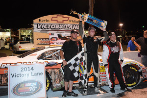 Austin hoists his first K&N East trophy.