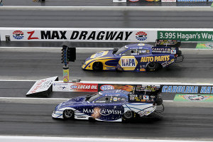 NAPA Funny car Capps knocked out Tommy Johnson