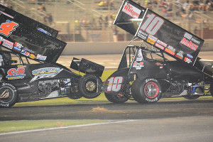 #10 Terry Gray and #4M Michael Miller battling near the end of the race