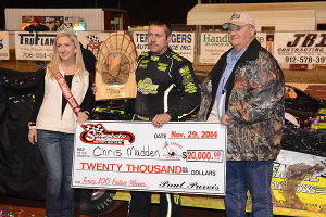 Madden collected $20,000 from track owner Paul Purvis.