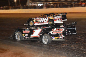 Jason Hiett in #1 car battled Randy Weaver in the #116 car