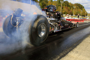 "Ronert ""The Hitman"" Vogler does a flying burnout.Photo: Courtesy of NHRA Media"