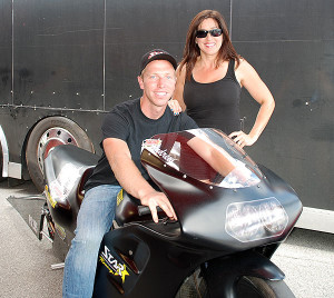 Andrew Patterson on his Star Racing bike with Angelle Sampey Drago