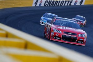 Kurt Busch, driver of the #41 Haas Automation Chevrolet, leads a pack of cars.Credit: Brian Lawdermilk/Getty Images