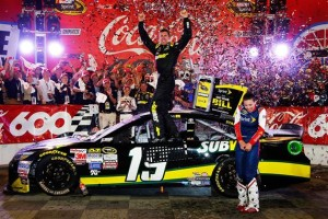Carl Edwards, driver of the #19 Subway Toyota, celebrates in Victory Lane after winning the NASCAR Sprint Cup Series Coca-Cola 600 at Charlotte Motor Speedway on May 24, 2015 in Charlotte, North Carolina.Credit: Jerry Markland/Getty Images