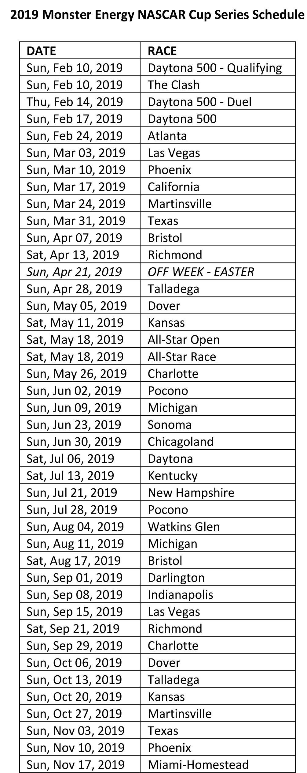 This is a photo of Selective Printable Nascar Schedules